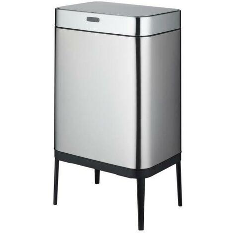 KITCHEN MOVE Poubelle de cuisine automatique UPPER 60 L - En acier inoxydable