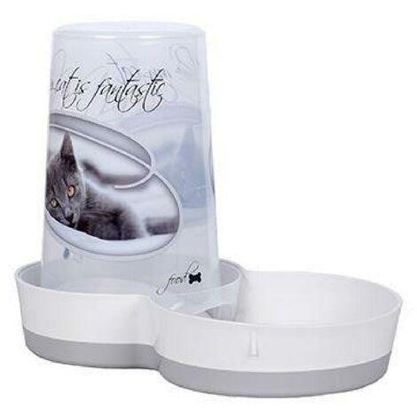 RIGA I LOVE MY CAT Distributeur 2 en 1 - Eau - Croquettes - 1.5 L