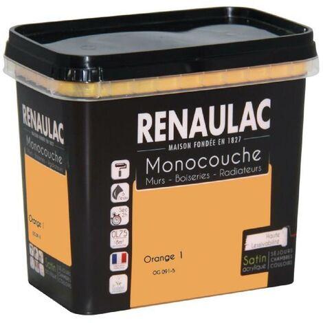 Peinture murale monocouche multi-support 0.75 L orange satin Murs / Boiseries / Radiateurs - RENAULAC