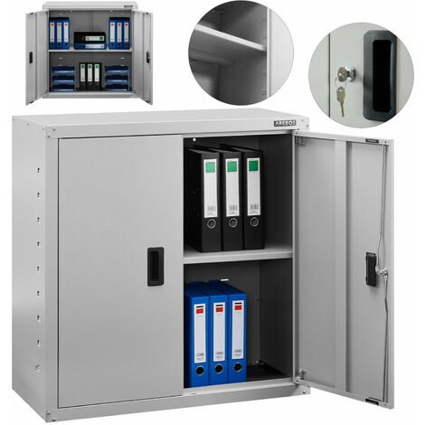 AREBOS Aktenschrank Büroschrank Lagerschrank Materialschrank Stahlschrank Grau 90 x 40 x 90 cm - Grau