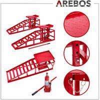 AREBOS 2x PKW Auffahrrampe höhenverstellbar Hebebühne Auffahrbock Hebeplattform - Rot