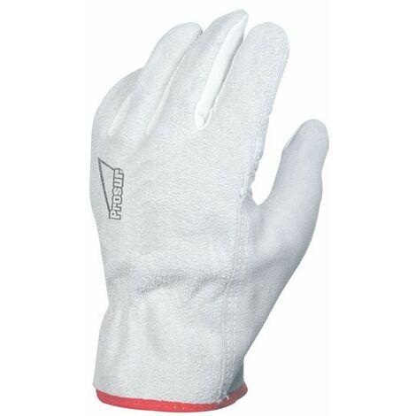 SINGER - Paire de gants paume fleur de bovin - Dos croûte - Coloris naturel - Taille 10 - 50FC