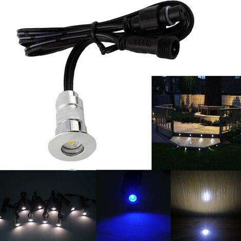 Pack Mini Spots LED Ronds Étanches SP-E02 - Tout Compris   6 spots LED - Sans Télécommande - Blanc Froid 6000K