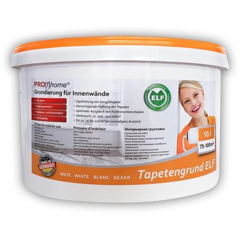 Peinture sous-couche PROFHOME Apprêt spécial pour tapisser pour préparer les murs intérieurs blanc 10 L rend. Max 100 m2