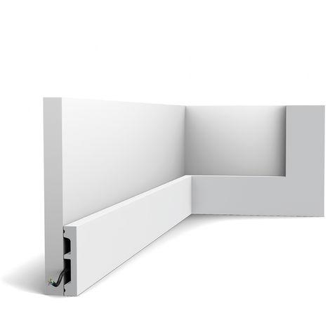 Plinthe Orac Decor SX157-RAL9003 AXXENT SQUARE Plinthe Cimaise Moulure décorative prépeinte design moderne blanc de sécurité 2 m