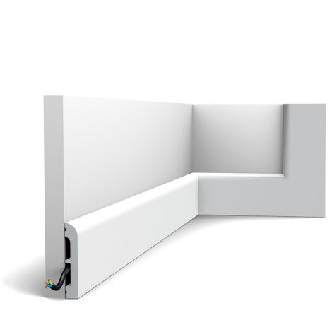 Plinthe Orac Decor SX183-RAL9003 AXXENT CASCADE Plinthe Cimaise Moulure décorative prépeinte design moderne blanc de sécurité 2 m