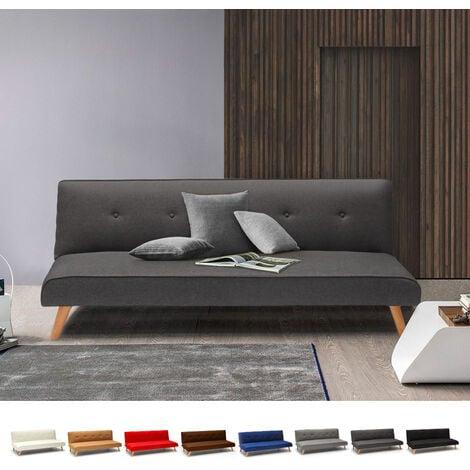 Canapé-lit convertible 2 places Larimar en tissu pour le salon et le séjour   Couleur: Gris foncé