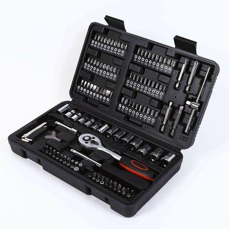 Caisse à outils avec clés à cliquet douilles tournevis et écrous hexagonaux 169 pièces Fx