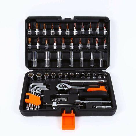 Caisse à outils avec clés à douille tournevis à cliquet et écrous hexagonaux 99 pièces Hx