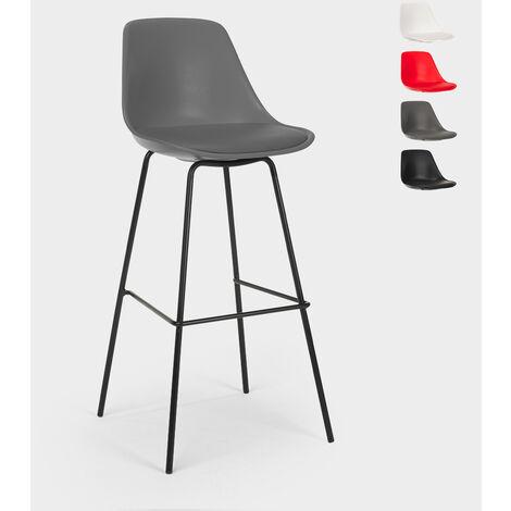 Tabouret de bar et de cuisine avec coussin et pieds en métal au design moderne Willis   Gris