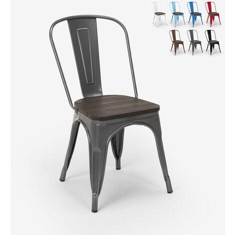 Chaises industrielles en bois et acier Tolix pour cuisine et bar Steel Wood | Gris foncé