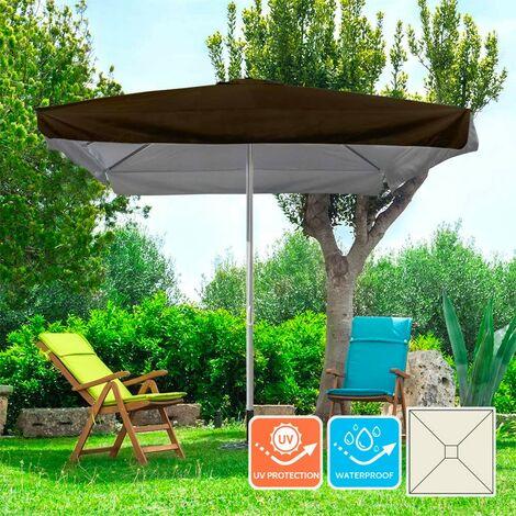 Parasol de jardin carré 3x3 en aluminium avec mât central Marte Brown