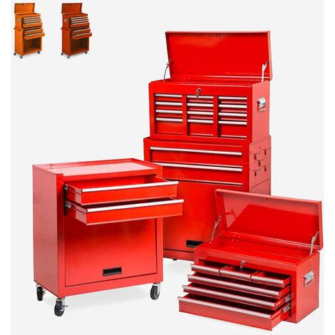 Chariot à outils à roulettes 8 tiroirs pour atelier et garage Ultra   Rouge