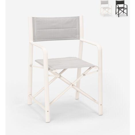 Chaise pliante en textilène et aluminium de jardin plage mer Ciak | Blanc