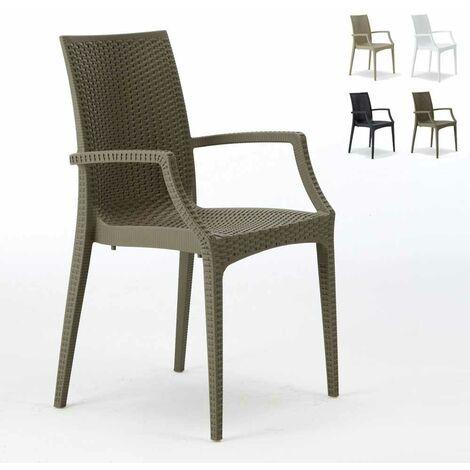 20 chaises de jardin accoudoirs fauteuils bar café restaurant poly rattan Bistrot Arm Grand Soleil   Marron