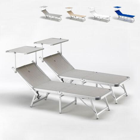 Bain de soleil pliants transats piscine aluminium lits de plage Gabicce offre pour 2 pièces | Gris