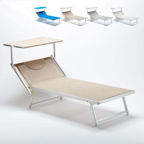 Bain de soleil Xxl professionnel chaise longue transat piscine aluminium Italia Extralarge   Beige