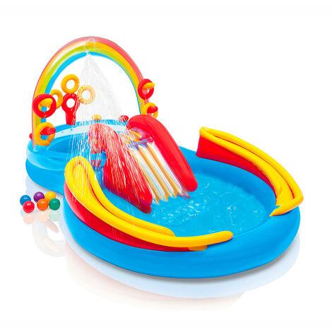Piscine gonflable pour les enfants Intex 57453 Rainbow Ring arc-en-ciel jeux