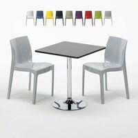356f552c0a6d6 Table Carrée Noire 70x70cm Avec 2 Chaises Colorées Grand Soleil Set  Intérieur Bar Café ICE MOJITO