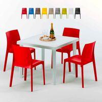 Table Carrée Noire 90x90cm Avec 4 Chaises Colorées Grand