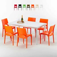 Table rectangulaire et 6 chaises Poly rotin colorées