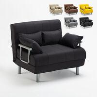 Canapé-lit convertible en tissu Deborah Twin | Couleur: Noir