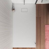 Receveur de douche à l'italienne rectangulaire en résine 160x80 Stone   Couleur: Blanc