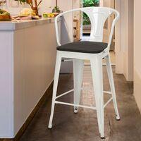 Tabouret en bois de métal avec dossier design industriel de style Tolix Steel Wood Back | Blanc