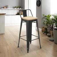 Tabouret design industriel métal bois vintage style tolix Brush Top   bois neutre