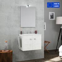 Meuble de salle de bain suspendu 2 portes miroir LED porte-serviettes lavabo en céramique Vanern
