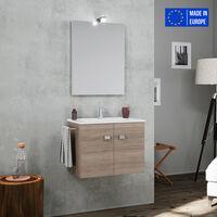 Meuble de salle de bain suspendu 2 portes évier en céramique porte serviette miroir lampe LED Vanern Oak