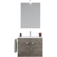Meuble de salle de bain base suspendue 2 portes porte-serviette évier miroir en céramique lampe LED Vanern Noir