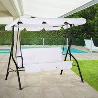 Balancelle de jardin en acier pour terrasse 3 places toit étanche Yaw