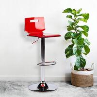 Tabouret haut bar et cuisine en acier chromé San José Design   Rouge