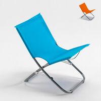 Chaise de plage transat pliante fauteuil piscine acier Rodeo   Bleu