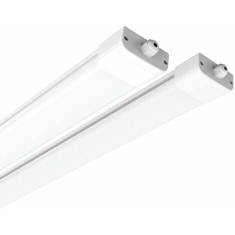 2×Anten 120CM Tube LED 36W Plafonnier Néon Tube LED Étanche IP65 Lampe sur Plafond Anti-Poussière Anti-Corrosion et Anti-Choc Tube Ampoule LED Blanc Neutre 4000K