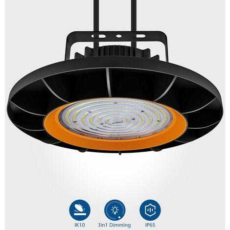 Anten 200W UFO Projecteur LED Dimmable Projecteur LED d'éclairage Industriel Suspension IP65 Phare de Travail Spot Lumière Éxtérieur et Indérieur Blanc Froid 6000K (Variateur non compris)