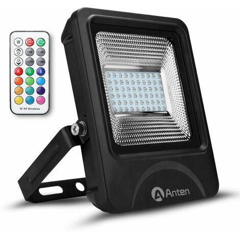 Anten 30W RGB Projecteur LED Dimmable IP65 Étanche 16 Couleurs 4 Modes, Spot LED Éxtérieur Ultra-Mince, Lampe Halogène Multicolore Décoration avec Télécommande (Connecteur de cble étanche Fourni)