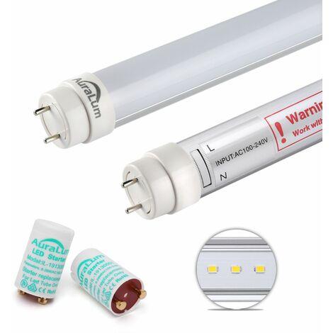 2×Auralum 90CM Néon Tube LED 12W T8 G13 Blanc Froid 6000~6500K 1200LM LED Lumière Fluorescente avec Couverture Blanche Laiteuse Starters Fournis