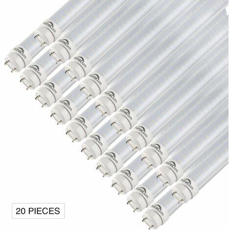 20×Auralum 90cm Néon Tube LED T8 G13 12W Blanc Froid 6000-6500K 2835*96LED 1200LM LED Lumière Fluorescente Tube avec Couverture Rayée et Starters