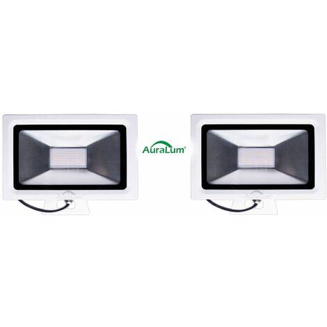 2×Auralum 30W Projecteur LED Ultraléger IP65 Éclairage Extérieur et Intérieur 2250LM de Haute Luminosité Spot LED Blanc Neutre 4000-4500K