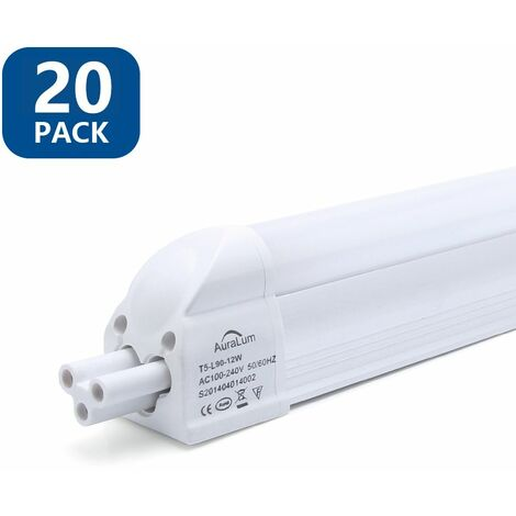 20×Anten T5 Tube LED 90CM Tube de Lumière Fluorescente 12W IP20 avec Réglette Complète Blanc Froid 6000K