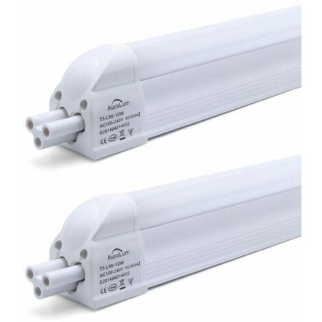 2×Anten T5 90CM Tube LED 12W Tube de Lumière Fluorescente IP20 avec Réglette Complète Blanc Neutre 4000K
