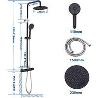 Auralum Panneau de Douche avec LED Colonne de Douche avec LCD Écran Ensemble de Douche avec Jets de Massage Tête de Douche en Pluie et en Cascade pour Salle de Bain