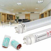 2×Auralum 90CM Néon Tube LED 12W T8 G13 Blanc Neutre 4000-4500K 1200LM LED Lumière Fluorescente avec Couverture Rayée Starters Fournis