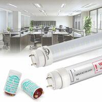 2×Auralum 90cm Néon Tube LED T8 G13 12W Blanc Froid 6000-6500K 2835*96LED 1200LM LED Lumière Fluorescente Tube avec Couverture Rayée et Starters