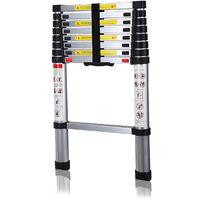 Échelle télescopique professionnelle en aluminium 2M60 - Norme EN-131-6 + gants offerts - Carrera