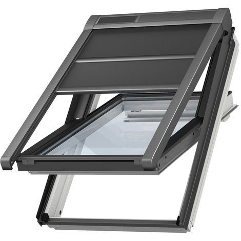 Volet roulant souple extérieur à énergie solaire VELUX original pour fenêtres de toit VELUX M04, MK04 - Noir