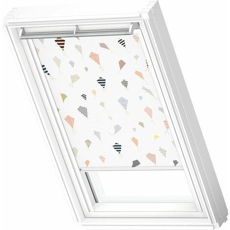 VELUX store occultant (DKL) original, cadre blanc, collection enfants, pour fenêtre de toit VELUX C02 - Cerf-Volants