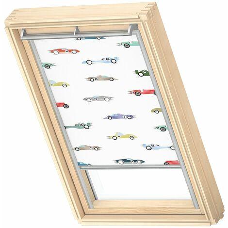 VELUX store occultant (DKL) original, collection enfants, cadre argenté, pour fenêtre de toit VELUX U04, 804, 7 - Voitures De Course